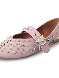 Flats Spring Fall Comfort PU Casual Flat Heel Rivet Black White Beige Walking
