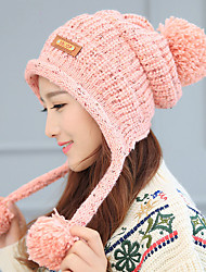 Women Autumn Winter Hair Ball Solid Color Knitted Wool Leather Standard Plus Cashmere Cap