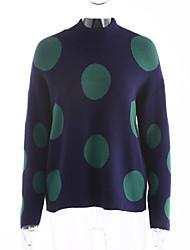 Damen Standard Pullover-Ausgehen Lässig/Alltäglich Urlaub Einfach Geometrisch Lila Rundhalsausschnitt Langarm Polyester Herbst Winter