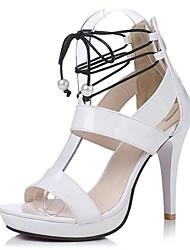 Sandalen-Kleid Lässig Party & Festivität-Lackleder-Stöckelabsatz-Komfort-Schwarz Weiß