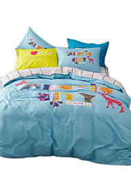 Mingjie Reactive Print Colorful Childhood Bedding Sets 4 Pcs for Queen Size Contain 1 Duvet Cover 1 Bedsheet 2 Pillowcases from China
