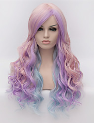 Cosplay Wigs  Color Pink Wig Fashion Partial Points Multicolor Gradient 26 inch Long Curly Hair