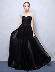 Formal Evening Dress Ball Gown Strapless Floor-length Lace Organza Satin Chiffon with Lace