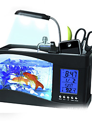Mini USB LCD Desktop Lamp Fish Tank Light Aquarium LED Clock