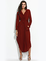 Women's Casual/Daily Vintage Sheath Dress,Solid Deep V Maxi Long Sleeve Red Others Summer
