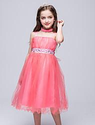 Girl's Solid Floral Dress,Cotton Nylon Summer All Seasons Spring Sleeveless