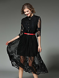 Feminino Rendas Vestido, Para Noite Casual Simples Moda de Rua Sólido Colarinho Chinês Médio Meia Manga Branco Preto AlgodãoPrimavera