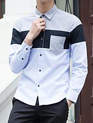Masculino Camisa Social Para Noite Casual Férias Simples Moda de Rua Activo Todas as Estações,Estampa Colorida Algodão PoliésterColarinho