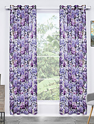 One Panel Curtain Modern Flower Living Room Polyester Sheer Curtains Shades Home Decoration For Window
