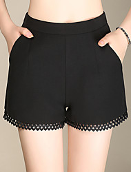 Women's Plus Size Wide Leg Chinos Shorts Pants,Going out Casual/Daily Simple Cute Solid Lace High Rise Zipper Cotton Nylon Micro-elastic
