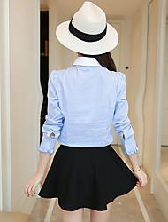 определить реальный выстрел девушки весной 2017 года новый корейский полосатый рубашку с длинными рукавами воланами небольшой свежий