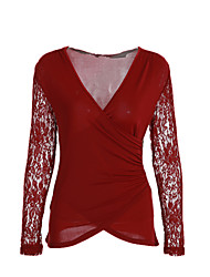 Damen Patchwork Sexy / Einfach Ausgehen / Klub T-shirt,V-Ausschnitt Frühling / Herbst Langarm Rot Polyester Mittel
