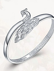 Bangles Natural Sterling Silver Animal Shape Peacock Jewelry For Gift