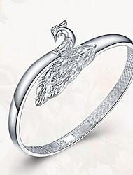 Bracelete Prata de Lei Natureza Formato Animal Pavão Prata Jóias 1peça