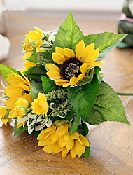 7Heads/Branch Silk Aquatic Plant Sunflowers  Tie-In Bouquet Artificial Flowers
