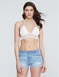 Damen Solide Sexy Strand T-shirt,Tiefes V Sommer Ärmellos Weiß / Schwarz Dünn