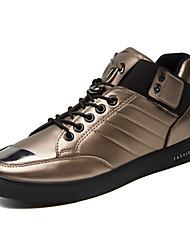 Da uomo-Sneakers-Tempo libero Sportivo Casual-Comoda pattini delle coppie-Piatto-PU (Poliuretano)-Nero Bianco Dorato