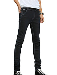 Men's Slim Jeans PantsCasual/Daily Simple Solid Mid Rise Button Cotton Polyester Micro-elastic All Seasons DG-2083