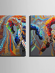 E-HOME Oil painting Modern Abstract colored Horse Series 4 Pure Hand Draw Frameless Decorative Painting