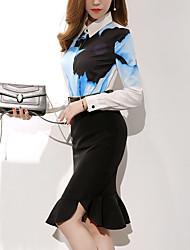 Модель реальный выстрел корейская весна торговый 2017 новый тонкий принт рубашка + нерегулярная бюст юбка костюм