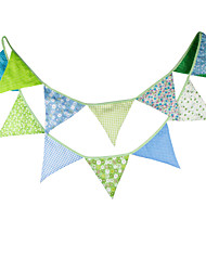 3.2m 12Flags Blue Green Pattern  Banner Pennant Cotton Bunting Banner Booth Props Photobooth Birthday Wedding Party Decoration