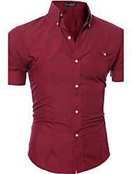 Мужчины На каждый день Весна Осень Рубашка Воротник Питер Пен,Простое Однотонный Синий Розовый Красный Белый Черный Коричневый Фиолетовый