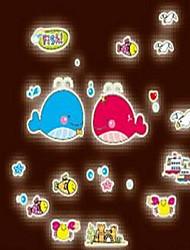 Cartoon Dolphin Luminous Wall Stickers Vinyl Material Kid's Room Decoration