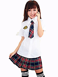Cosplay Costumes Student/School Uniform Festival/Holiday Halloween Costumes White Solid Carnival Female Nylon