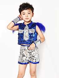 Shall We Jazz Outfits Children Performance Sequins Splicing 5 Pieces
