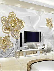 Art Deco Wallpaper For Home Wall Covering Canvas Adhesive Required Mural White Swan Silk Golden Diamond Background XXXL(448*280cm)