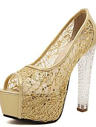 Damen-High Heels-Kleid-Stoff-Stöckelabsatz-Andere-Schwarz Silber Gold