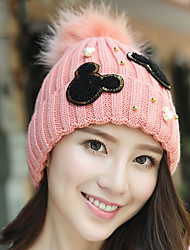 Women Hand Knitting Pearls Decorative Cartoon Solid Color Warming Hairball Wool Cap Winter Hat