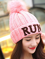 Women Stretch Letter Printing Solid Color Plus Knitting Cashmere Wool Knit Outdoor Winter Hat