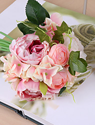 9 Branch Hydrangea Rose Peony  Tie-in Bouquet Artificial Flowers