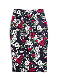 Women's Work Casual/Daily Holiday Knee-length Skirts,Vintage Street chic Bodycon Floral Spring Summer