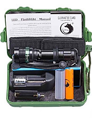 UKing ZQ-X950B#-EU CREE XML T6 2000LM 5Modes Zoomable Flashlight Kits with Battery and Charger