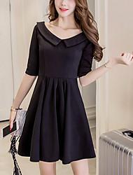Trapèze Noir Robe Femme Sortie Chic de Rue,Couleur Pleine Col de Chemise Au dessus du genou ½ Manches Noir Coton Polyester Printemps