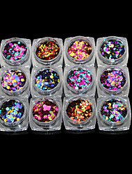 12PCS  Nail Art Laser Hybrid Circular Sequins Nails The Patch