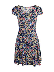 Women's Vintage/Print/Cute/Plus Sizes Micro-elastic Short Sleeve Above Knee Dress (Chiffon/Polyester)