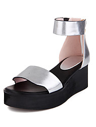 Sandals Spring Summer Fall Gladiator PU Office & Career Dress Casual Wedge Heel Zipper White Silver Gold