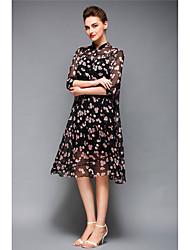 Feminino balanço Rodado Vestido,Bandagem Sofisticado Floral Estampado Colarinho Chinês Altura dos Joelhos Meia Manga Preto PoliésterTodas