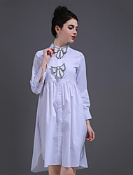 ZIYI Casual/Daily Simple A Line DressSolid Shirt Collar Above Knee Long Sleeve Polyester White Spring Summer Mid Rise Inelastic