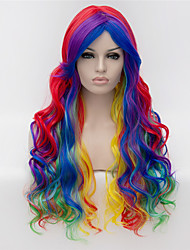 Cosplay Wigs Multicolor Gradient Color Wig Wig in Europe and America Fashion Partial Points 26 inch Long Curly Hair