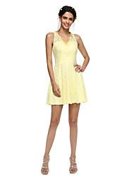 LAN TING BRIDE Short / Mini V-neck Bridesmaid Dress - Sexy Mini Me Sleeveless Lace