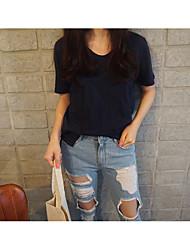koreaanse zomer nieuwe korte mouwen t-shirt vrouwen groot formaat losse katoenen shirt effen kleur dunne bamboe katoenen t-shirt