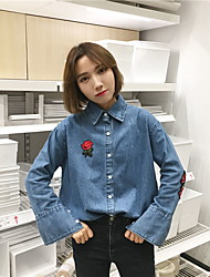 Sign roses embroidered denim shirt