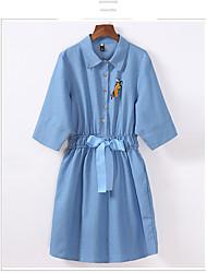 весной джинсовой женщин платья плюс удобрения для увеличения женщин размер жира мм рукав платье тонкий слово юбка
