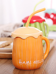Fruit Series Drinkware, 500 ml Decoration Ceramic Juice Milk Coffee Mug with Straw