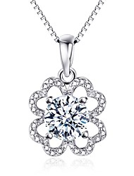 Pendants Crystal Sterling Silver Simulated Diamond Flower Style Silver Jewelry Daily Casual 1pc