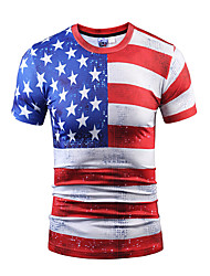 Men's Party Sports Club Casual/Daily Boho Street chic Punk & Gothic Spring Summer T-shirt,Striped Print Round Neck Short Sleeve Polyester